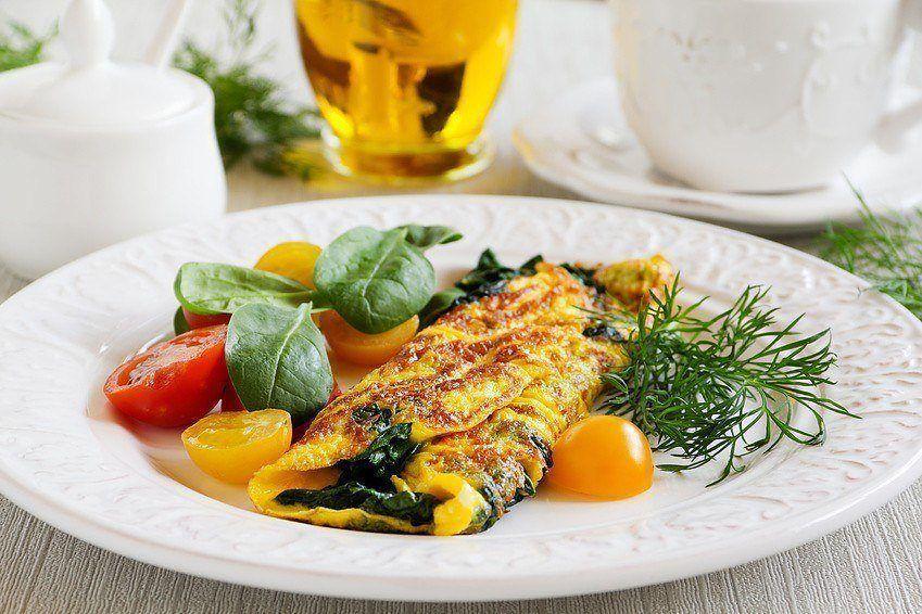 Omelet Med Spinat Og Mozzarella