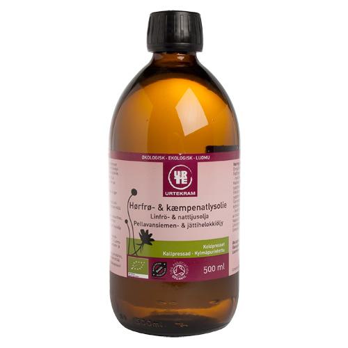 Urtekram Hørfrø- & kæmpenatlysolie Ø (500 ml)