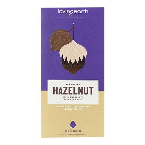 Loving Earth, 42% Chokolade m. Hazelnød og kakao Ø (80 g.)