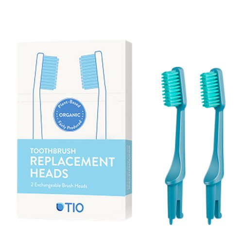 TIO Tandbørstehoveder Blå (Medium 2 stk) thumbnail
