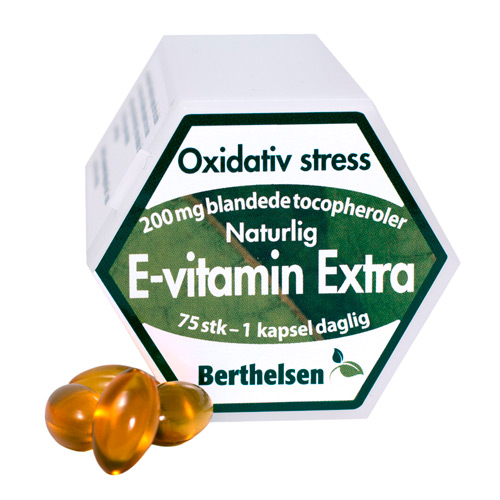 Image of Berthelsen E-vitamin Extra 200 mg (75 kapsler)