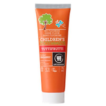 Tilbud på Urtekram Tuttifrutti Tandpasta U. Fluor (75 ml)