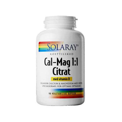 Billede af Solaray Cal-Mag Citrat 1:1 med D-vitamin (90 kapsler)