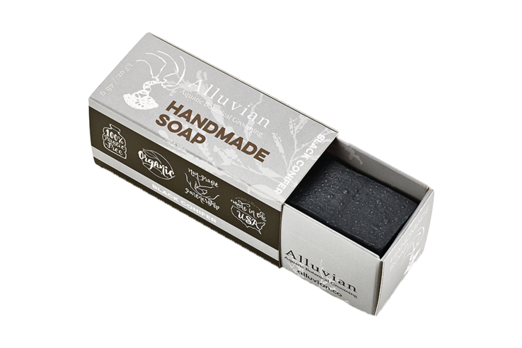 Image of Alluvian Black Conifer Aquatic Botanical Bar Soap Travel Size (48 g)