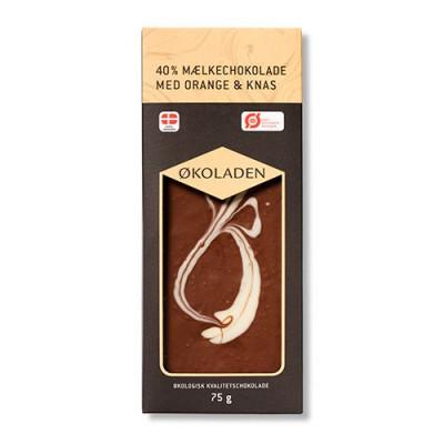 Økoladen Chokolade mælk orange/knas Ø 40% (75 g)