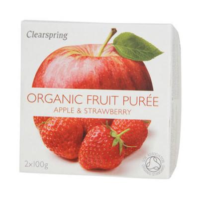 Clearspring Organic Frugtpuré Æble & Jordbær Ø (200 gr)
