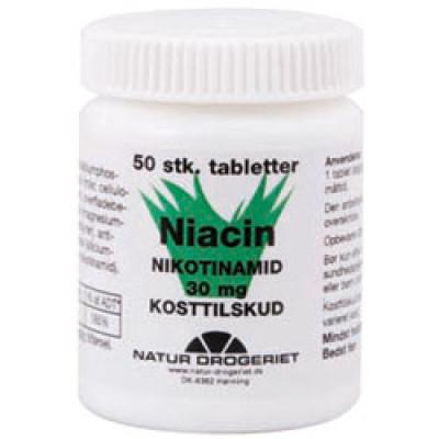 Natur Drogeriet Niacin (amid) B3-vitamin 30 mg (50 tabletter)