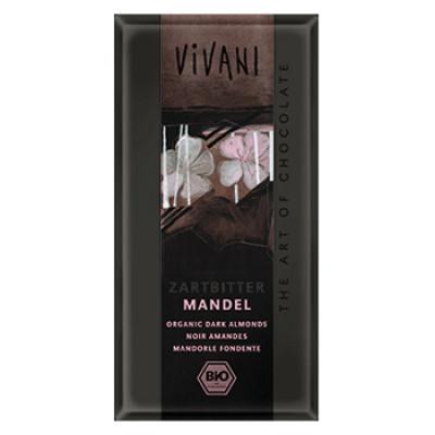Vivani chokolade mørk med hele mandler Ø 100 gr.
