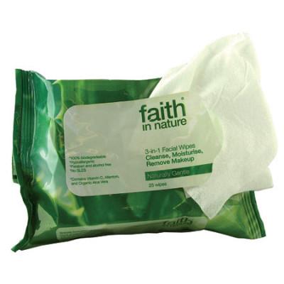 Faith In Nature Wipes 3-I-1 Renseservietter (25 stk)