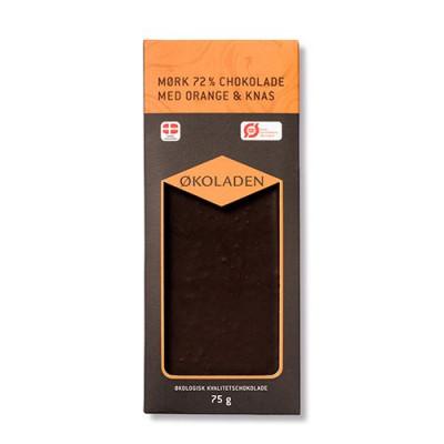 Økoladen Chokolade mørk orange/knas Ø 72% (75 g)