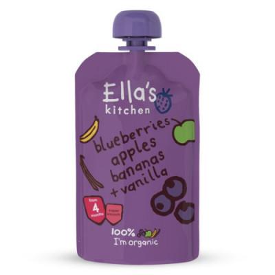 Ella's Kitchen Babymos Blåbær. Æble, Banan, Vanilje 4 Mdr (120 g)