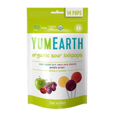 Yum Earth Slikkepinde m. Æble, Kirsebær & Vindrue Ø (85 g)