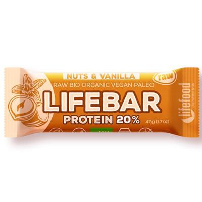 LifeFood LifeBar Nødder Vanilje Ø Proteinbar (47 g)