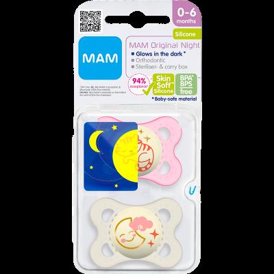 MAM Sut Original Night 0-6M Silicone Pink (2 stk)
