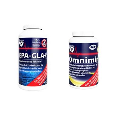 1 x Biosym Omnimin (360 tabletter) + 1 x Biosym EPA-GLA+ (240 kapsler)