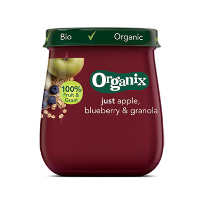 Organix Babymos æble, blåbær granola Ø fra 6 mdr. (120 g)