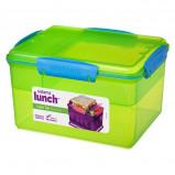 Madkasse stor lunch tub 2,3 L 4 rum, lime, blå, pink og lilla Sistema