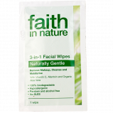 Vareprøve - Faith in Nature 3 in 1 Facial Wipes Naturally Gentle - 1 wipe.