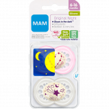 MAM Sut Original Night Silicone 6-16M Pink (2 stk)