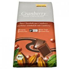 Chokolade mørk m. tranebær Ø 100 gr.