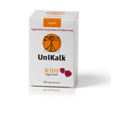 UniKalk Kids med Jordbær/Hindbær (90 tyggetabletter)