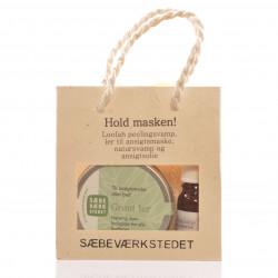 Hold masken gavepose indh. Grønt Ler ansigtsolie,natursvamp peeling pad