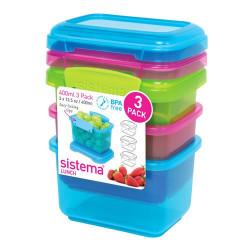 Sistema Opbevaringsboks 3-pak 400 ml blå, pink, grøn