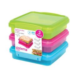 Sistema Opbevaringsboks Sandwich 3-pak blå, pink, grøn