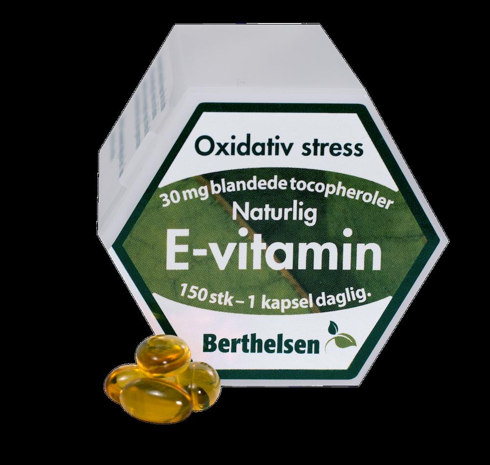 Image of Berthelsen E-vitamin 30 mg (150 kapsler)