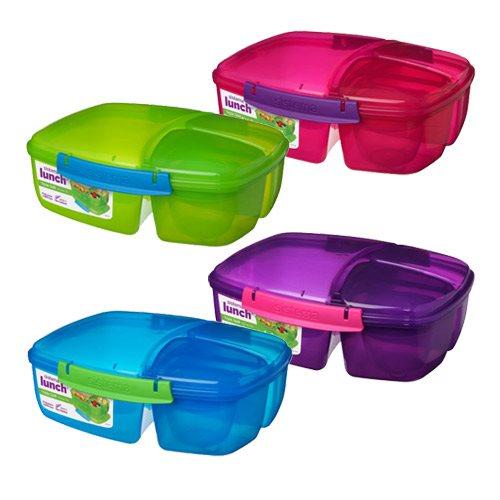 Madkasse m. 3 rum 2 L m. yoghurt bæger: blå, lilla, lime, pink Sistema