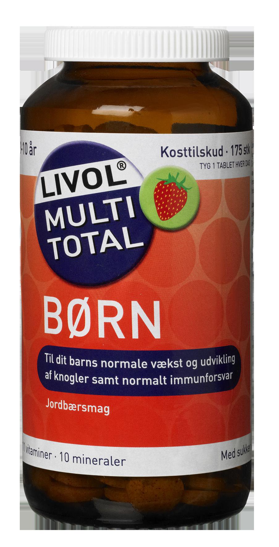 Image of Livol Multi Total Børn - Jordbær (150 tyggetabletter)