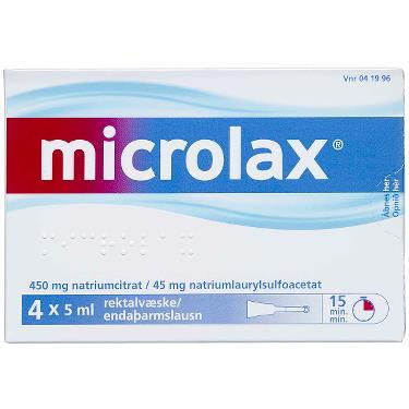 Image of Microlax Rektalvæske OPL 9+90MG/ML (4 stk. 5ML)