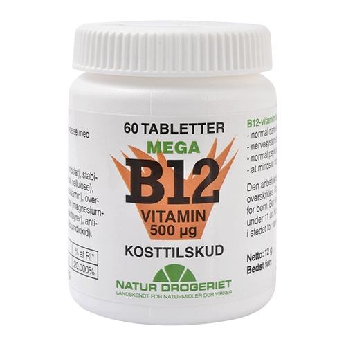 Natur Drogeriet B12 Mega Vitamin 500 ug (60 tabletter) thumbnail