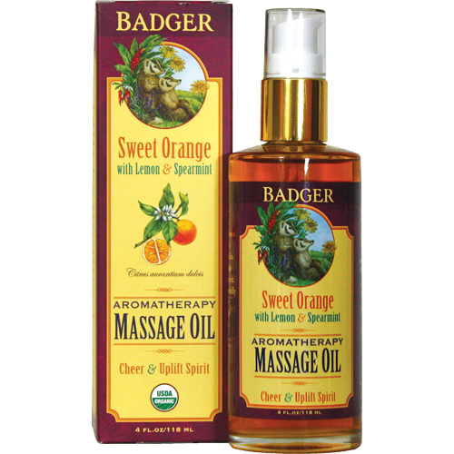 Image of Badger Sweet Orange Massage Oil (118 ml)