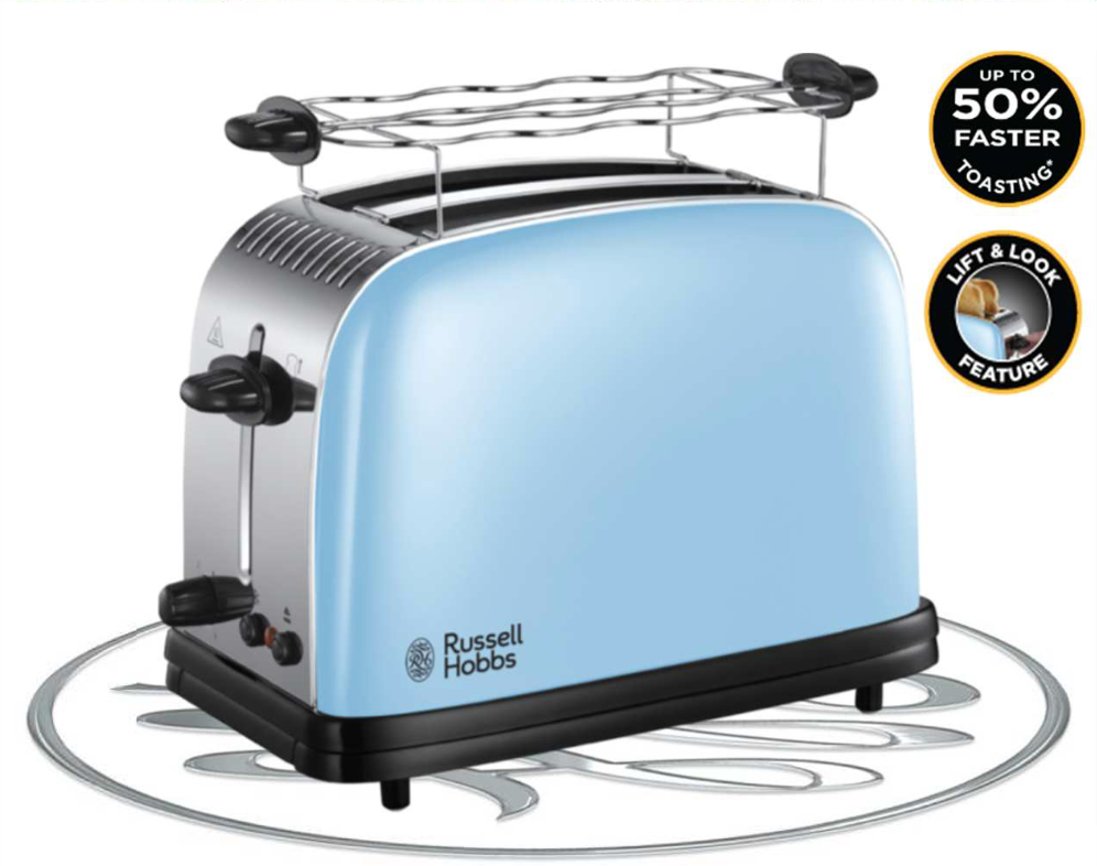 Image of Russell Hobbs Colours Plus Heavenly Blue 2 Slice Toaster