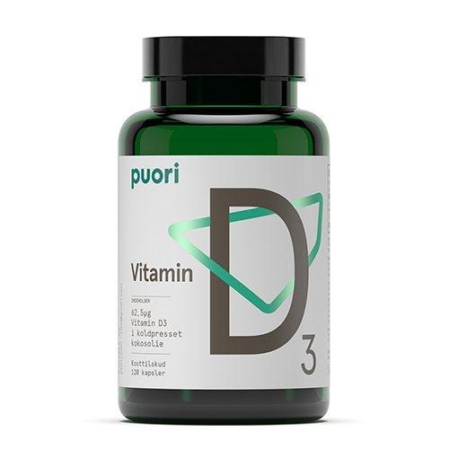 Puori (PurePharma) Vitamin D3 med Kokosolie - 62,5 µg (120 kapsler)